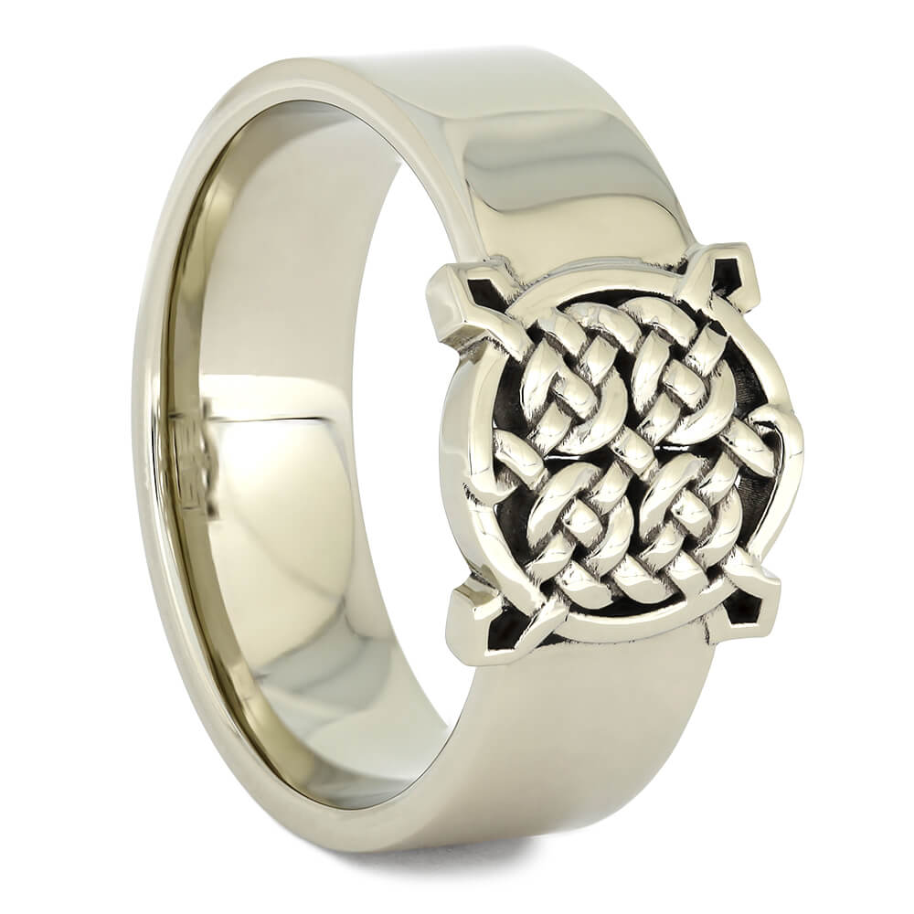 White Gold Celtic Signet Ring-4530 - Jewelry by Johan