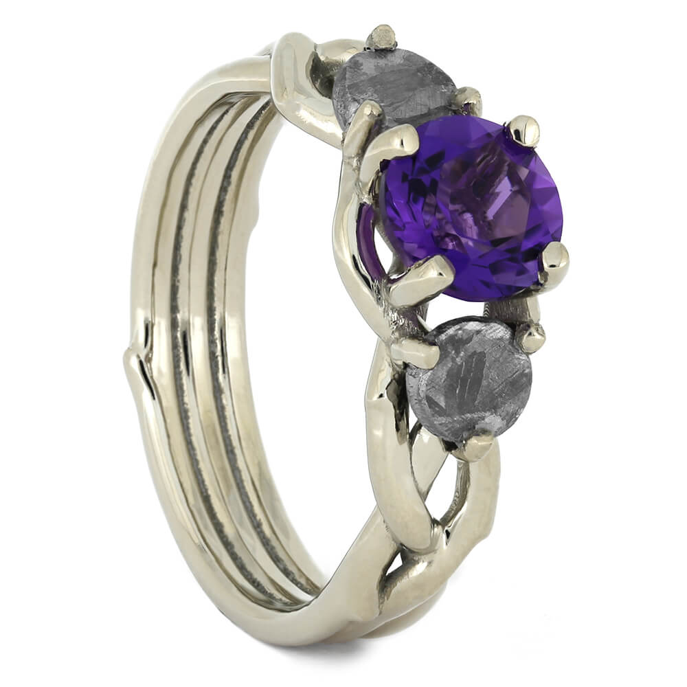 Three Stone Amethyst Engagement Ring with Gibeon Meteorite-4532 - Jewelry by Johan