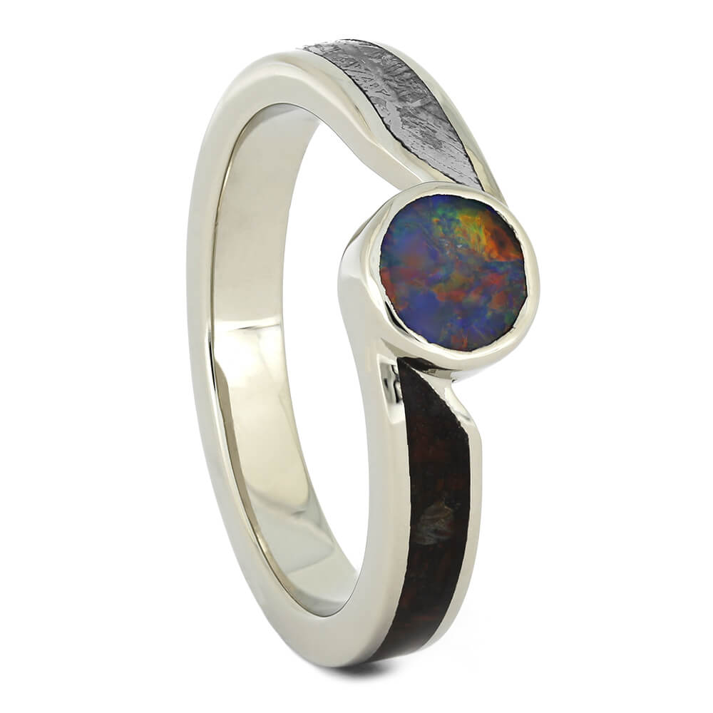 Opal Engagement Ring with Meteorite and Dinosaur Bone-4533 - Jewelry by Johan