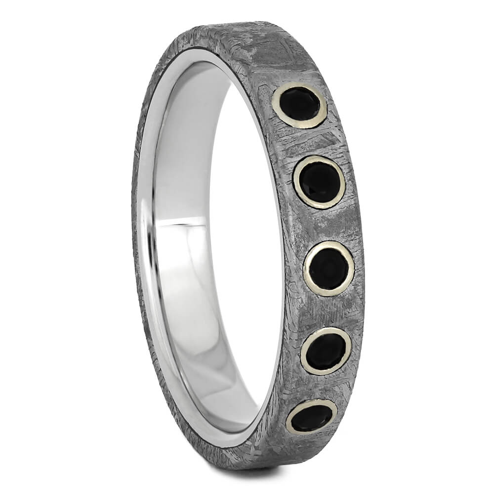 Thin Wedding Band with Meteorite and Black Diamonds-4534 - Jewelry by Johan
