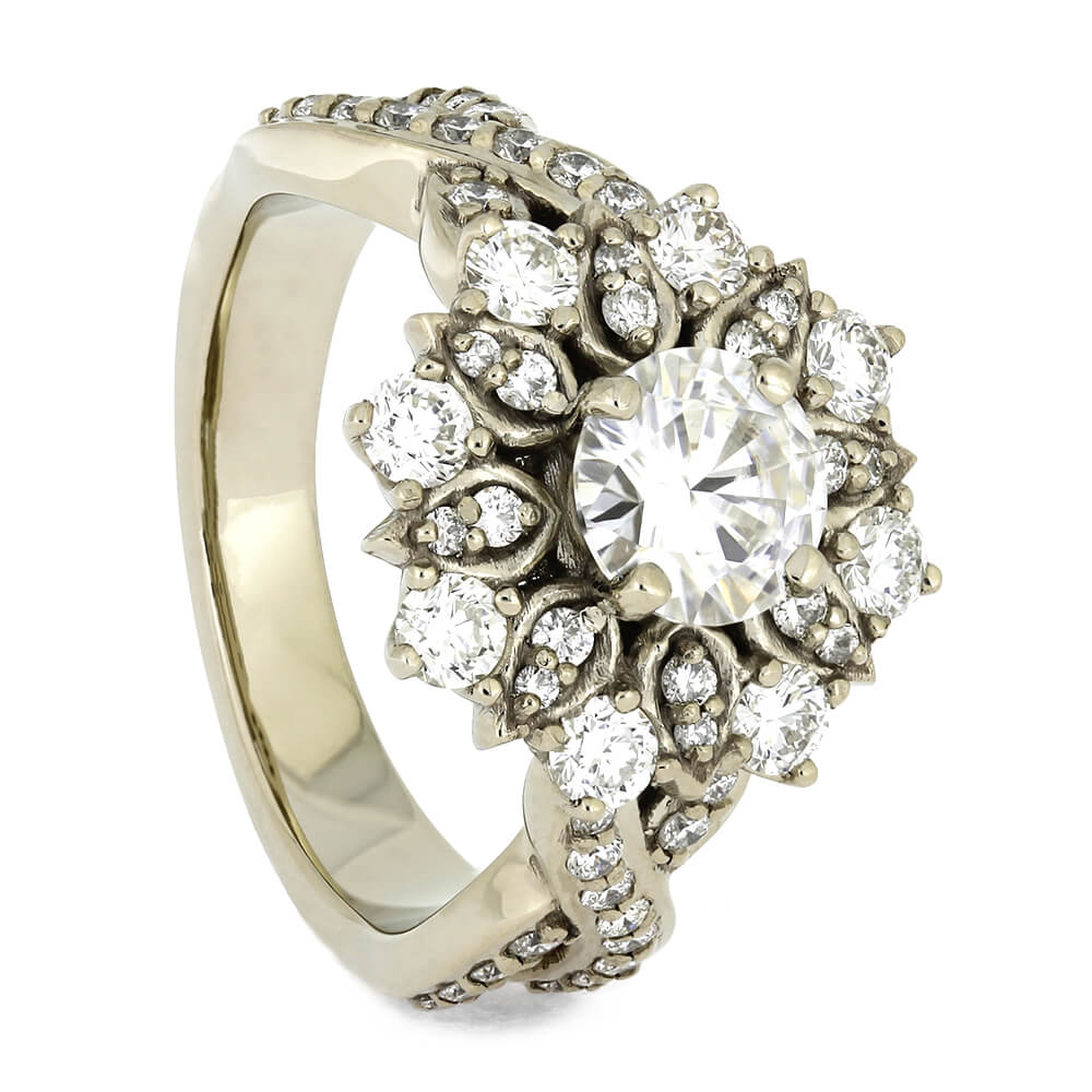 Flower Halo Engagement Ring in White Gold-4536 - Jewelry by Johan