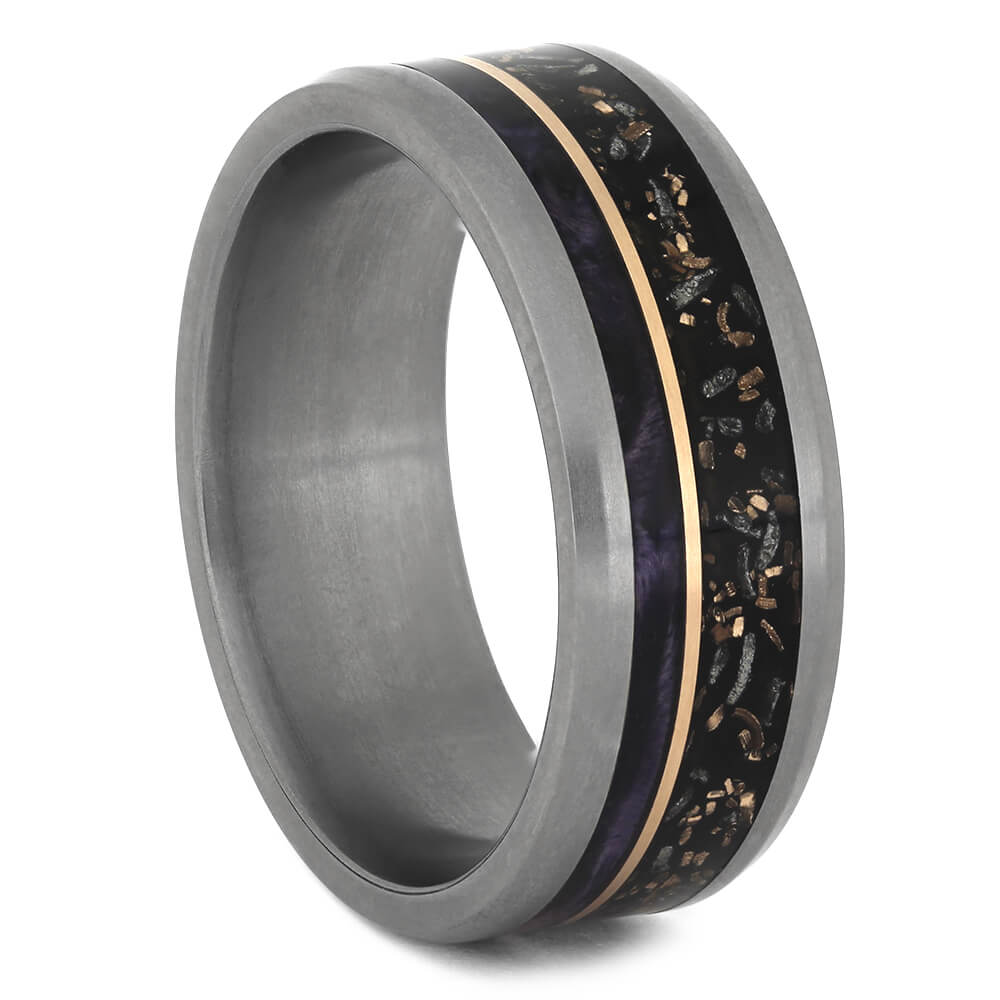 Black Stardust™ Wedding Band with Purple Box Elder Wood Burl-4537 - Jewelry by Johan