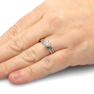 Platinum Solitaire Moissanite Engagement Ring with Meteorite-4540PT - Jewelry by Johan