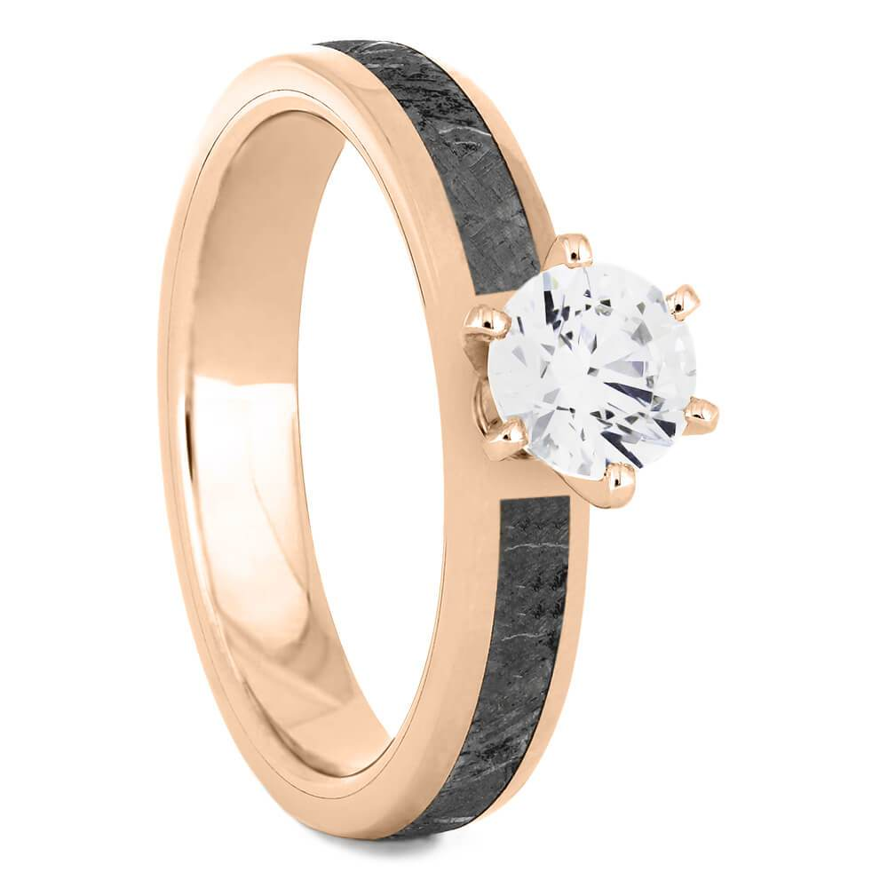 Solitaire Moissanite Engagement Ring with Meteorite in Rose Gold-4540RG - Jewelry by Johan