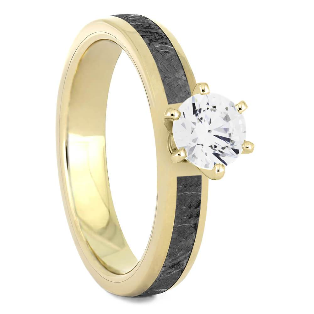 Solitaire Moissanite Engagement Ring with Meteorite in Yellow Gold-4540YG - Jewelry by Johan