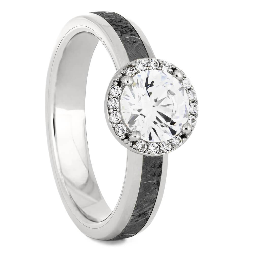 Platinum Round Cut Halo Engagement Ring with Meteorite-4541PT - Jewelry by Johan