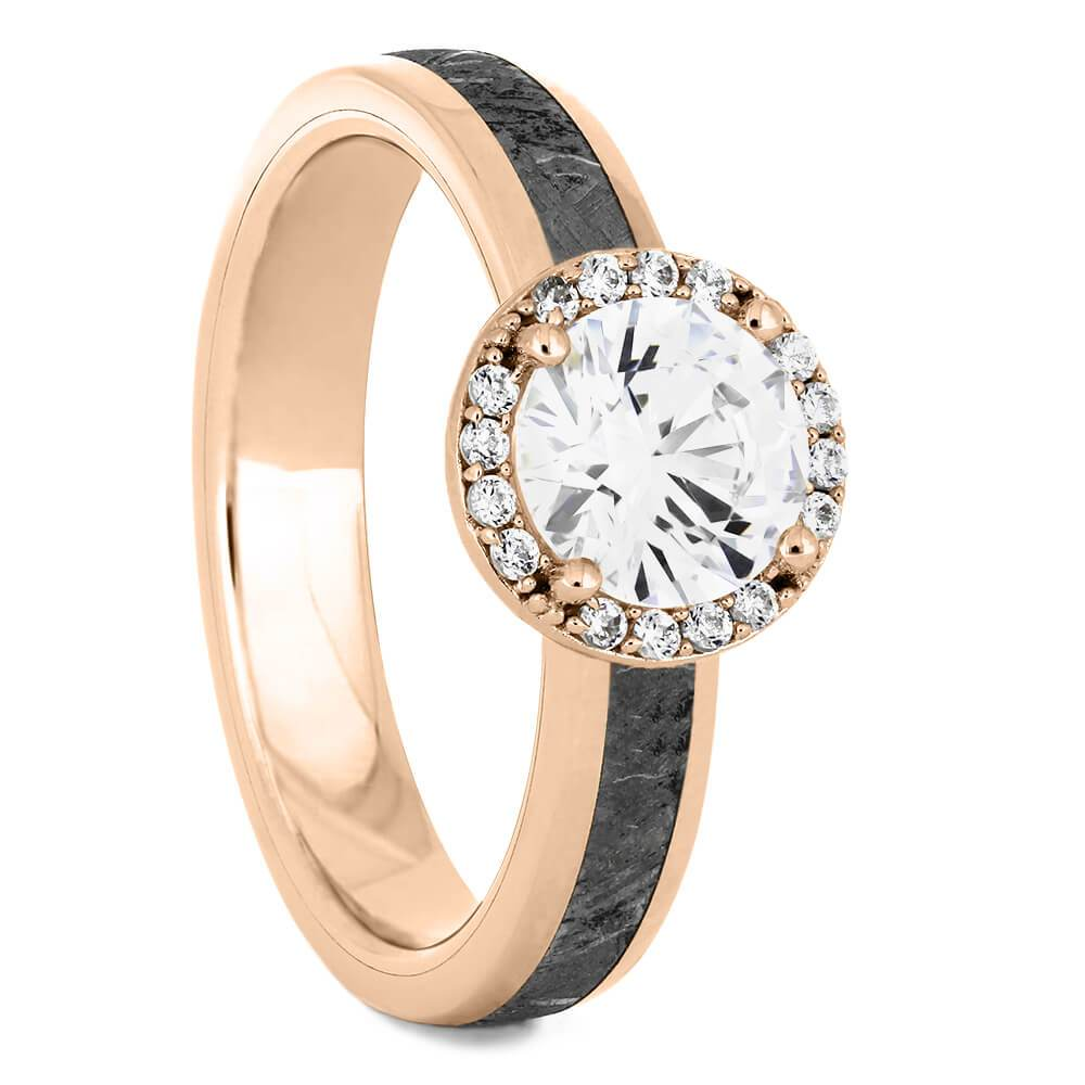 Round Cut Halo Engagement Ring with Meteorite in Rose Gold-4541RG - Jewelry by Johan
