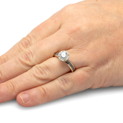 Round Cut Halo Engagement Ring with Meteorite in White Gold-4541WG - Jewelry by Johan