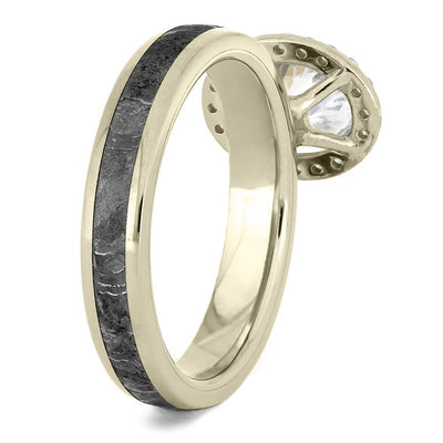 Oval Cut Halo Engagement Ring with Meteorite in White Gold-4542WG - Jewelry by Johan