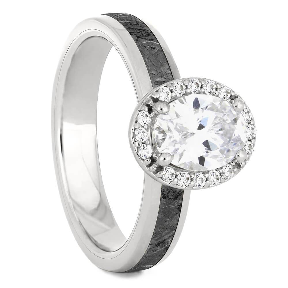 Platinum Oval Cut Halo Engagement Ring with Meteorite-4542PT - Jewelry by Johan
