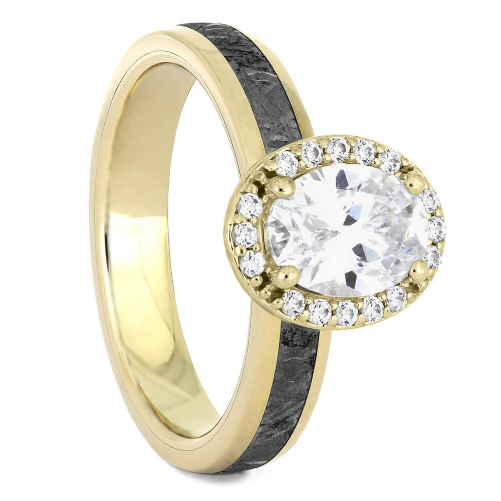 Oval Cut Halo Engagement Ring with Meteorite in Yellow Gold-4542YG - Jewelry by Johan
