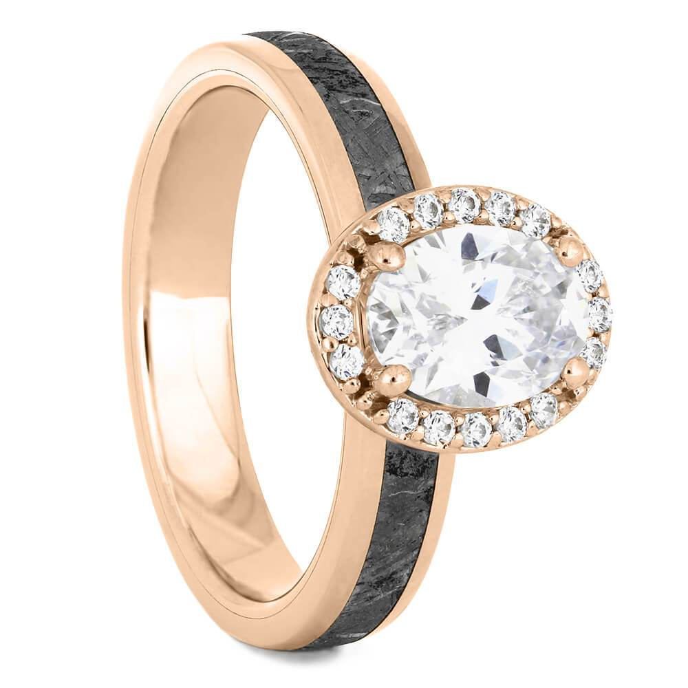 Oval Cut Halo Engagement Ring with Meteorite in Rose Gold-4542RG - Jewelry by Johan
