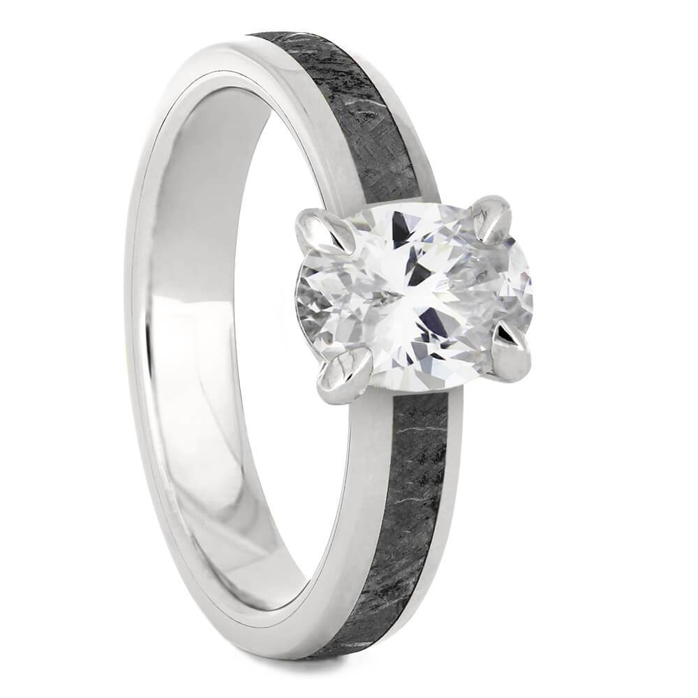 Platinum Oval Cut Solitaire Engagement Ring with Meteorite-4543PT - Jewelry by Johan