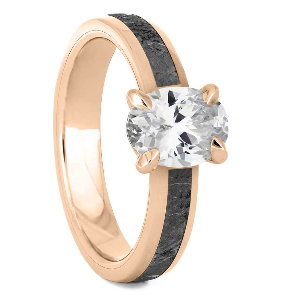 Oval Cut Solitaire Engagement Ring with Meteorite in Rose Gold-4543RG - Jewelry by Johan