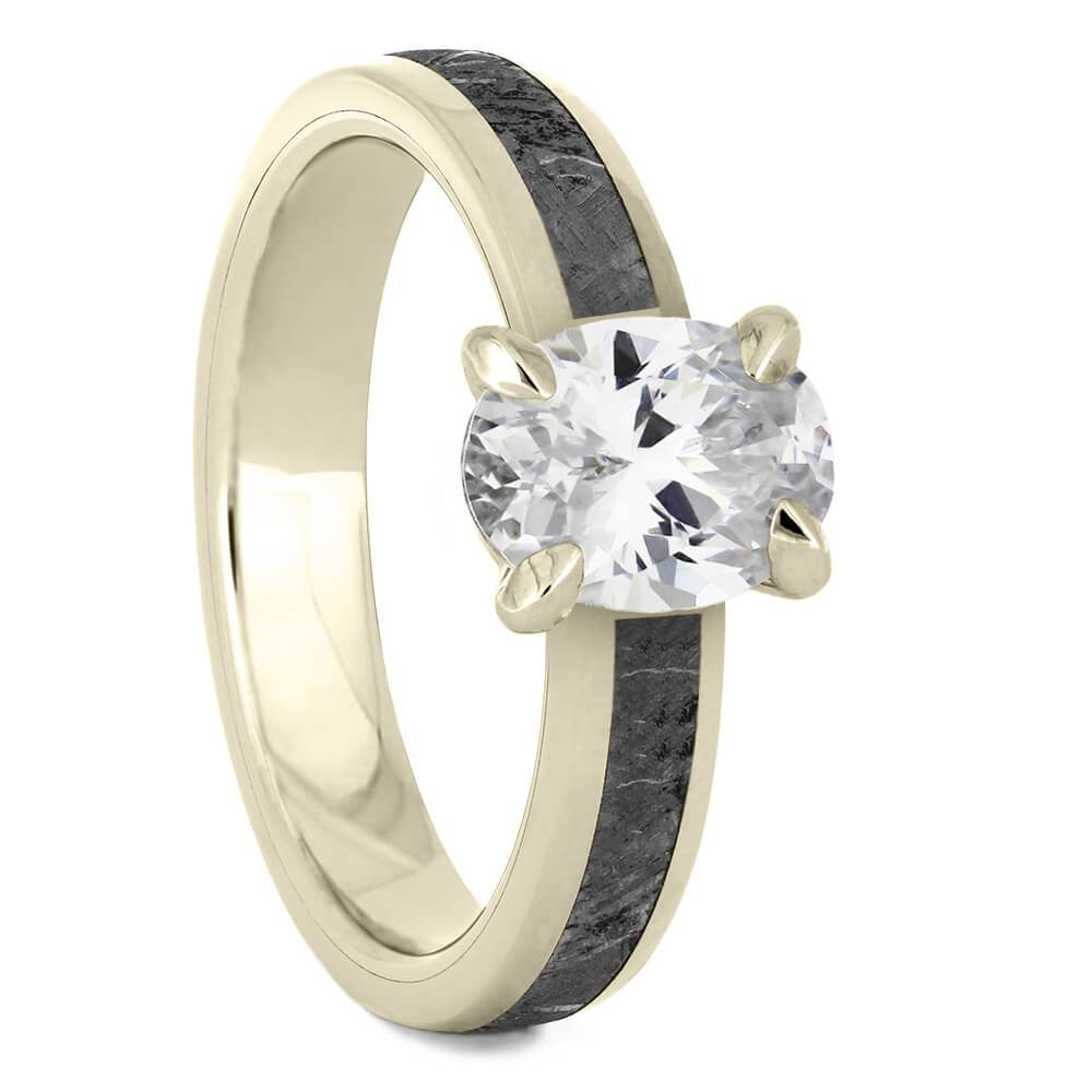 Oval Cut Solitaire Engagement Ring with Meteorite in White Gold-4543WG - Jewelry by Johan