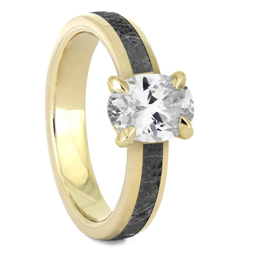Oval Cut Solitaire Engagement Ring with Meteorite in Yellow Gold-4543YG - Jewelry by Johan