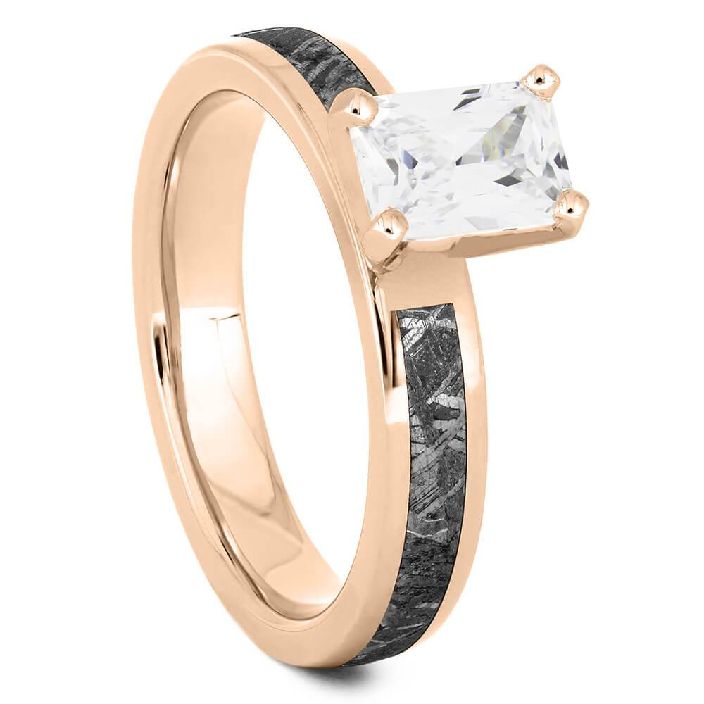 Emerald Cut Solitaire Engagement Ring with Meteorite in Rose Gold-4544RG - Jewelry by Johan