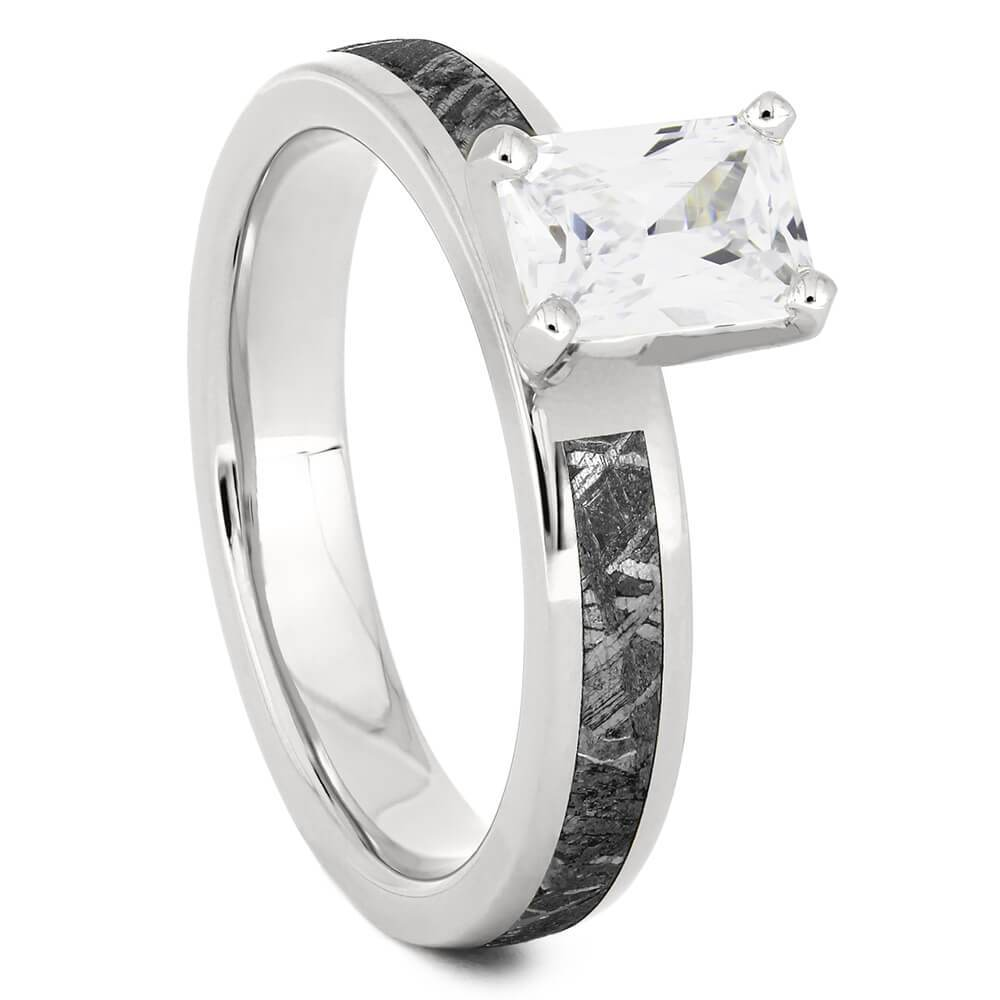Platinum Emerald Cut Solitaire Engagement Ring with Meteorite-4544PT - Jewelry by Johan
