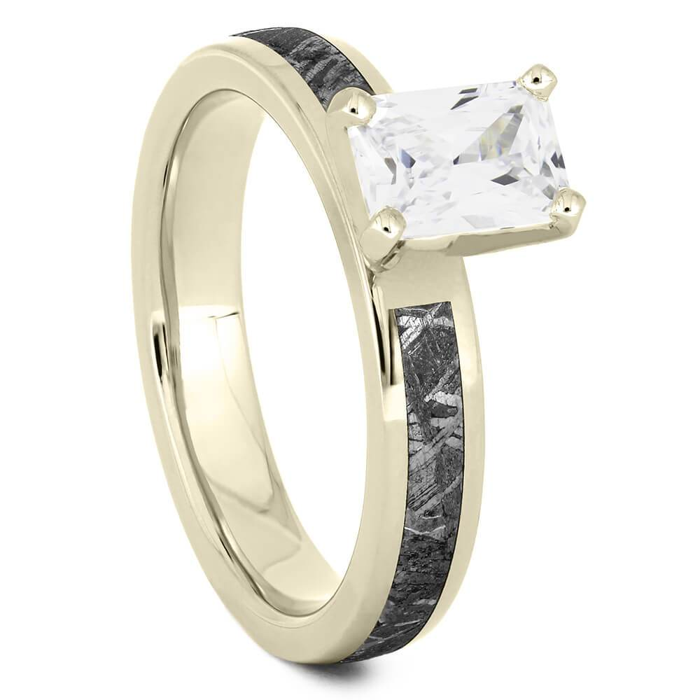 Emerald Cut Solitaire Engagement Ring with Meteorite in White Gold-4544WG - Jewelry by Johan