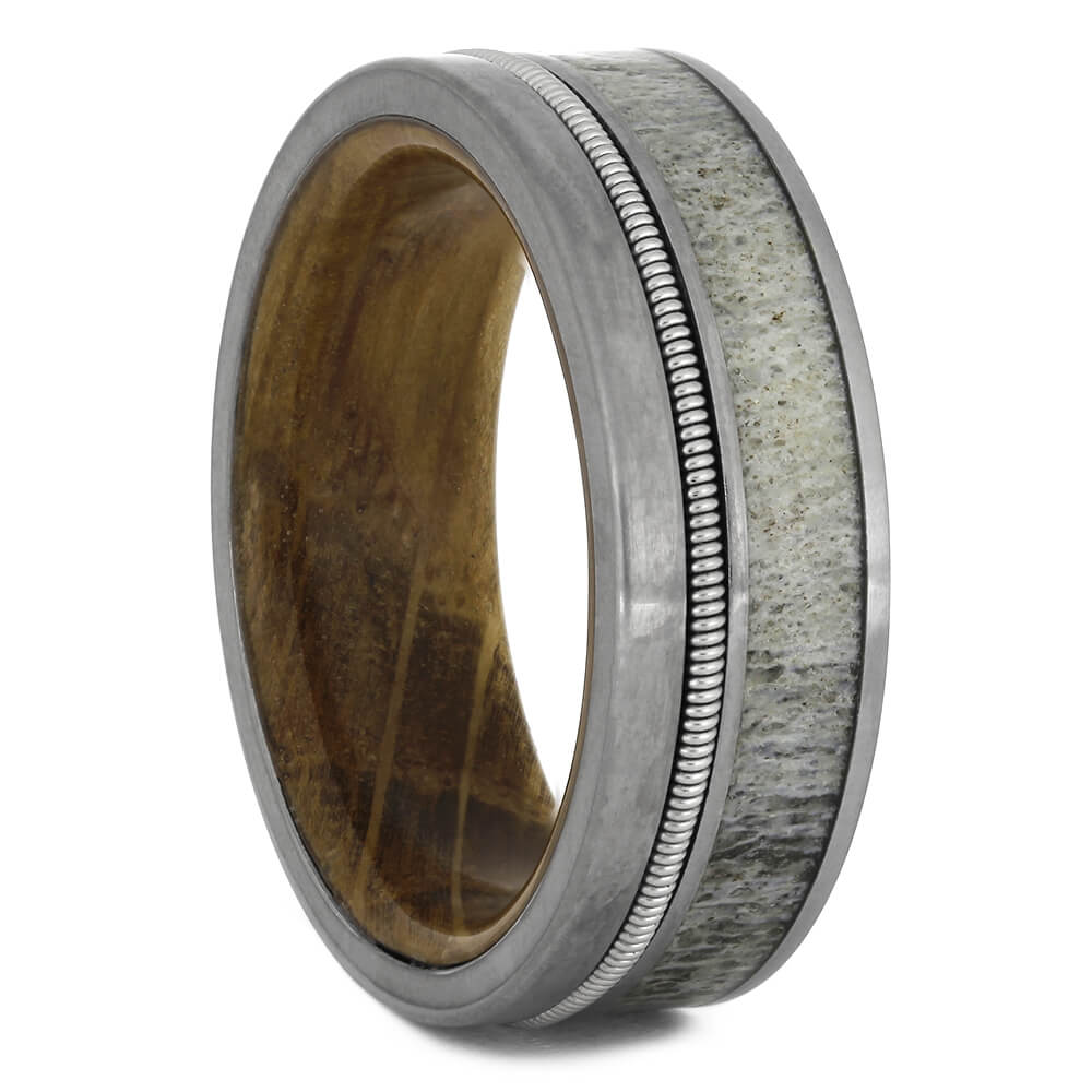 Antler and Guitar String Ring With Whiskey Barrel Wood Sleeve-4546 - Jewelry by Johan