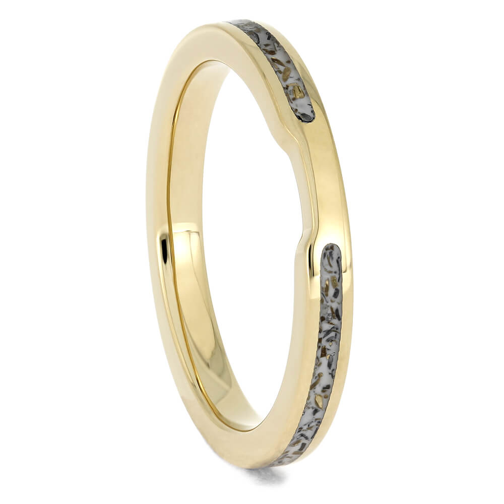 Women's Wedding Band with White Stardust™ and Yellow Gold-4560 - Jewelry by Johan