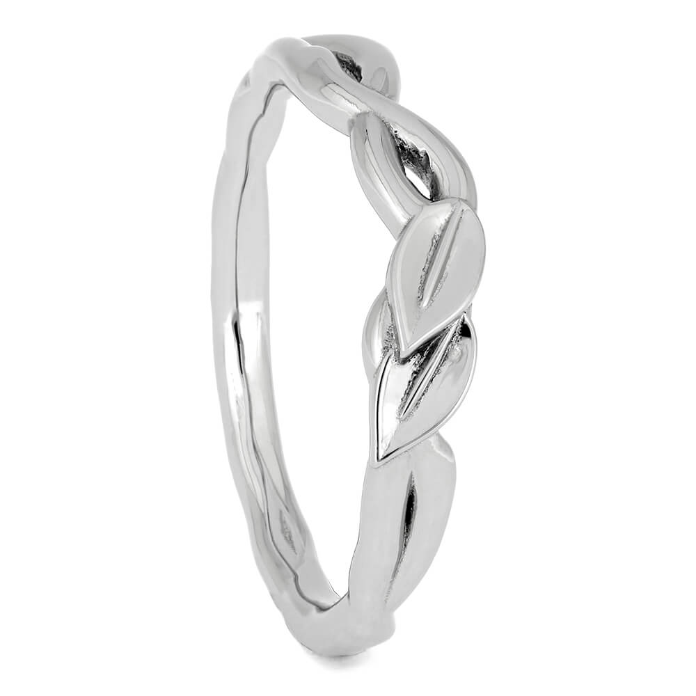 Platinum Wedding Band with Branch & Leaf Design-4563 - Jewelry by Johan