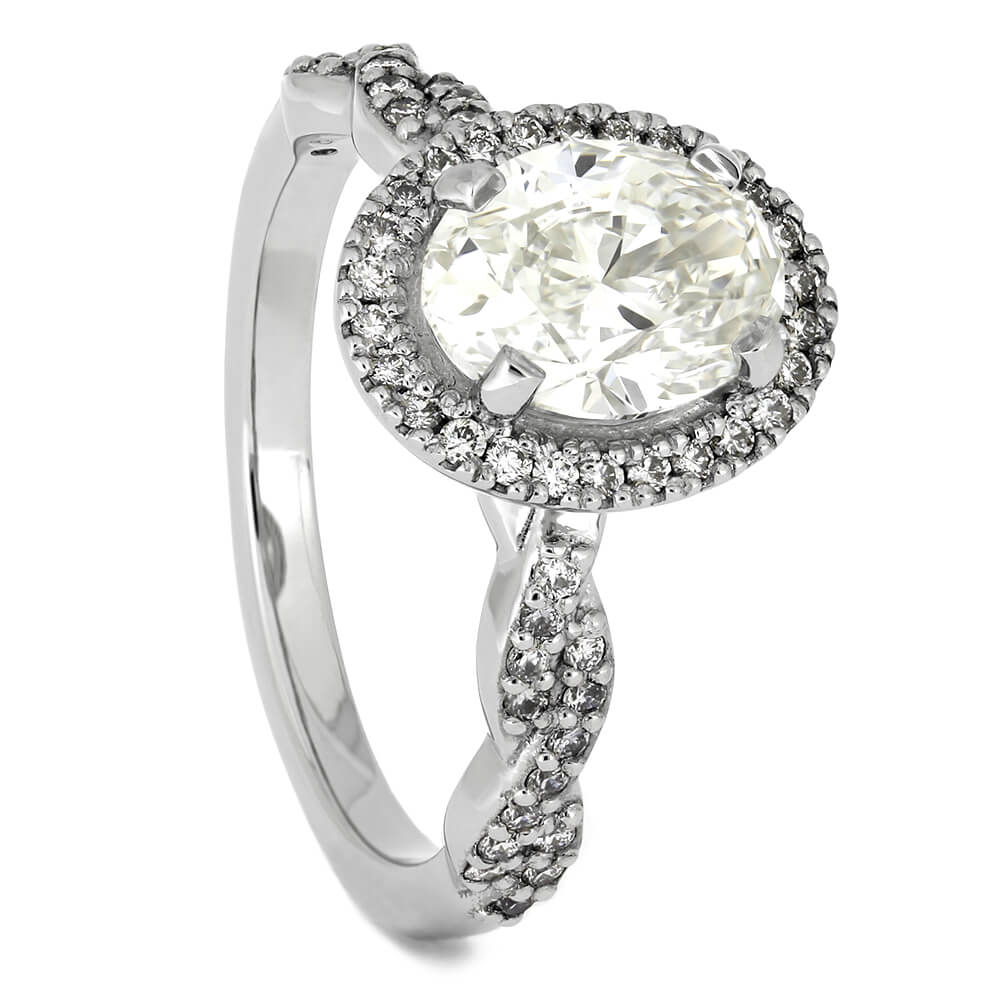 Platinum Engagement Ring with Oval Shaped Diamond Halo-4567 - Jewelry by Johan