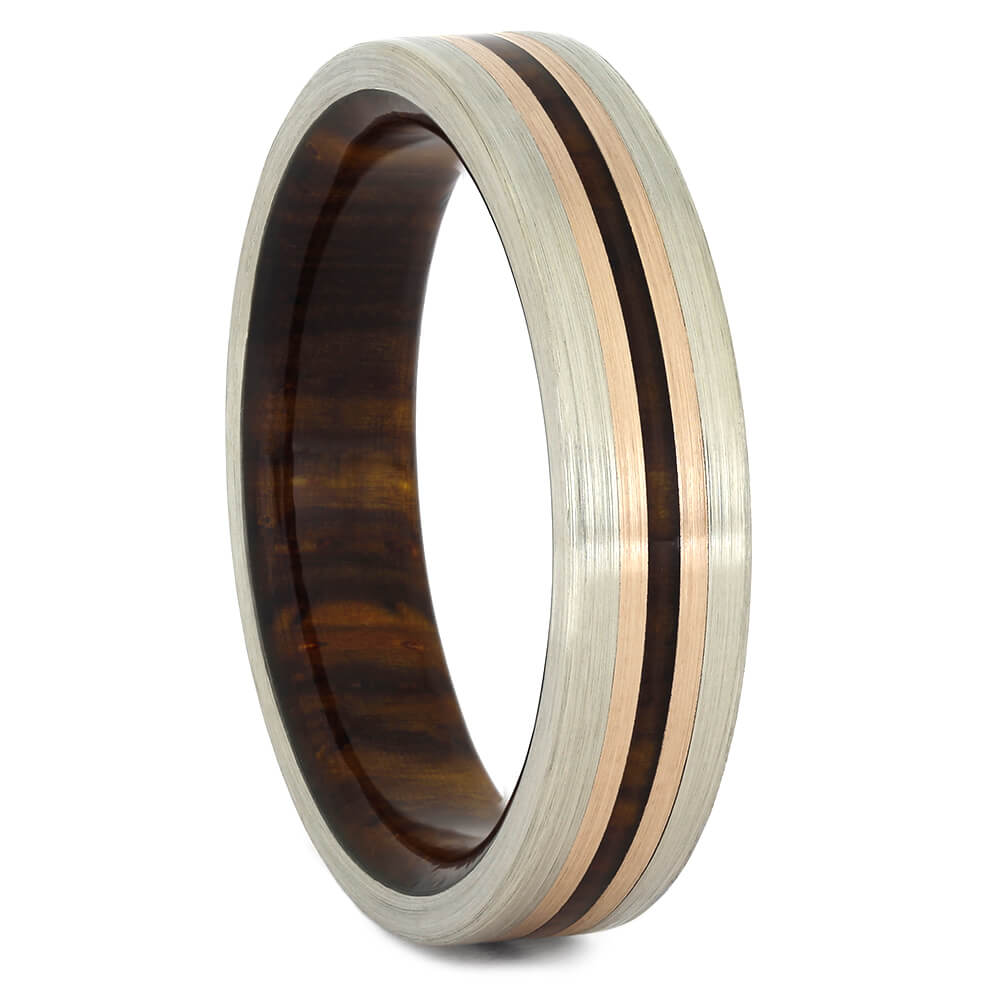 Cocobolo Wood Wedding Band with Mixed Metals-4570 - Jewelry by Johan