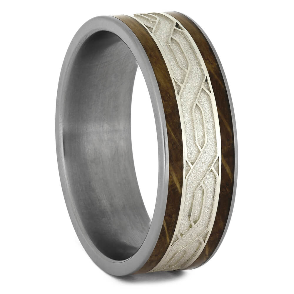 Whiskey Barrel Wood Wedding Band with Silver Celtic Knot Pattern-4574 - Jewelry by Johan