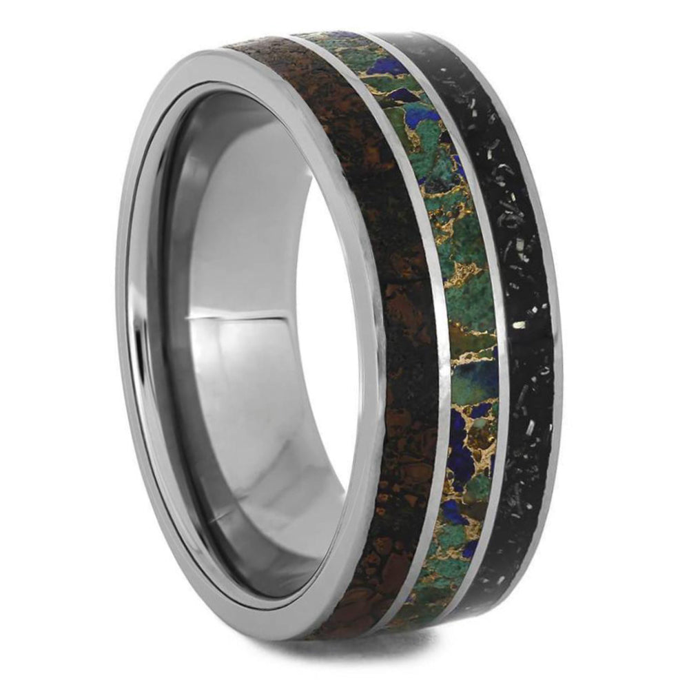Tungsten Memorial Ring With Dino, Stardust and Turquoise-4576 - Jewelry by Johan
