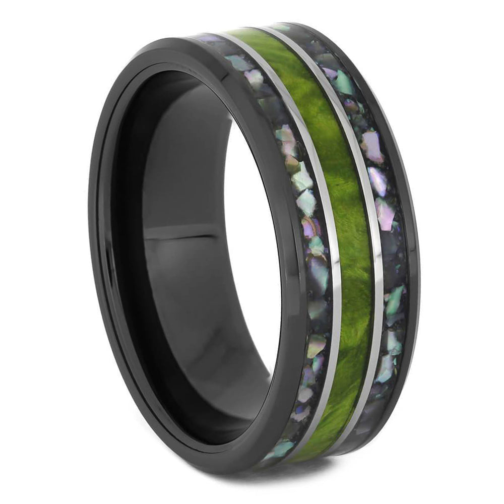 Black Wedding Band with Abalone and Green Wood-4577 - Jewelry by Johan