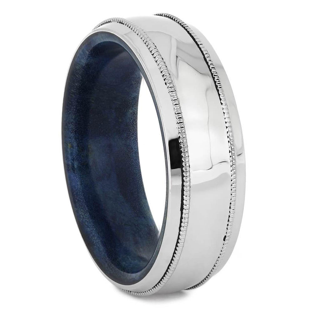 Platinum Wedding Band with Blue Box Elder Wood Sleeve-4583 - Jewelry by Johan