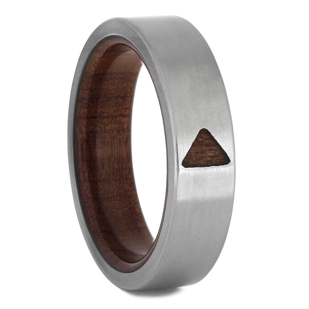 Red Cedar Wood Wedding Band with Triangle Design-4585 - Jewelry by Johan