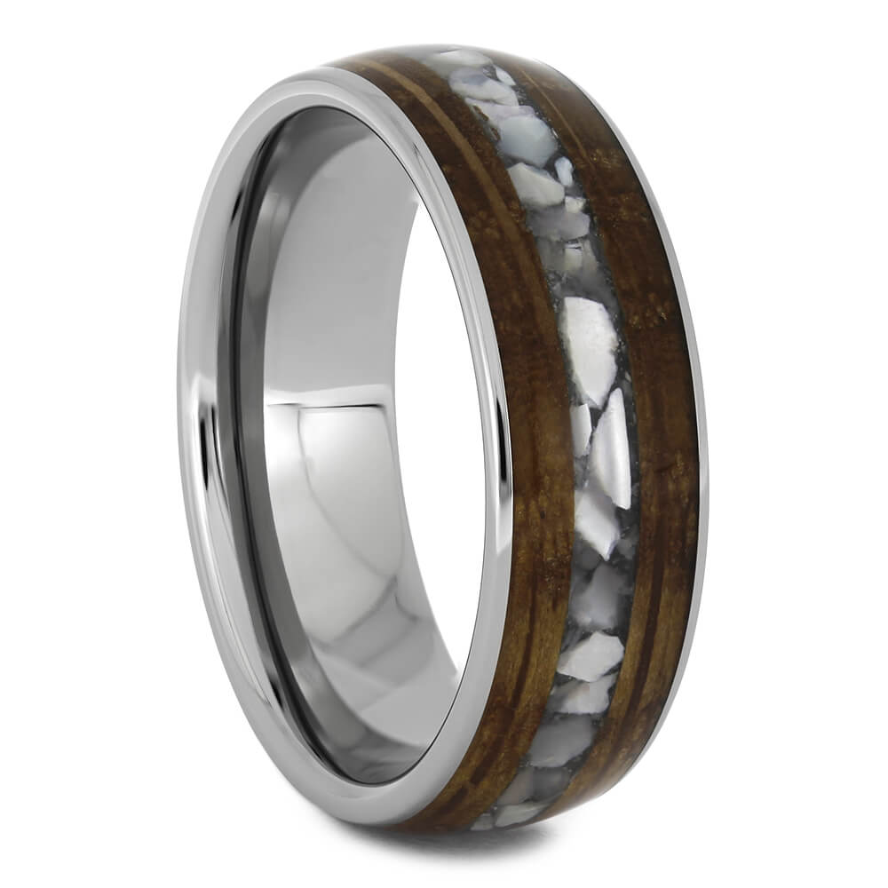 Whiskey Barrel Wood Wedding Band with Crushed Pearl-4590 - Jewelry by Johan