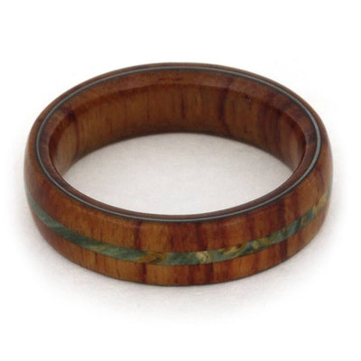Tulipwood Wedding Band Made With Green Box Elder Burl-3191 - Jewelry by Johan