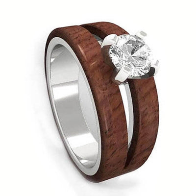 Split Wood Engagement Ring w/ Solitaire Moissanite in 14k White Gold-1904 - Jewelry by Johan
