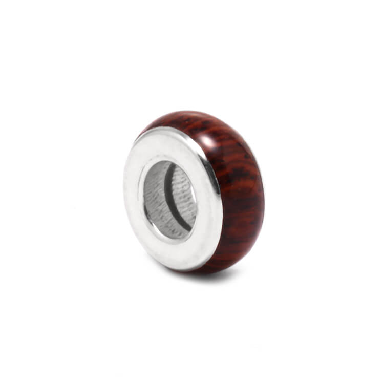 Honduran Rosewood Charm Bead for Snake Bracelets-RS9673 In Stock - Jewelry by Johan