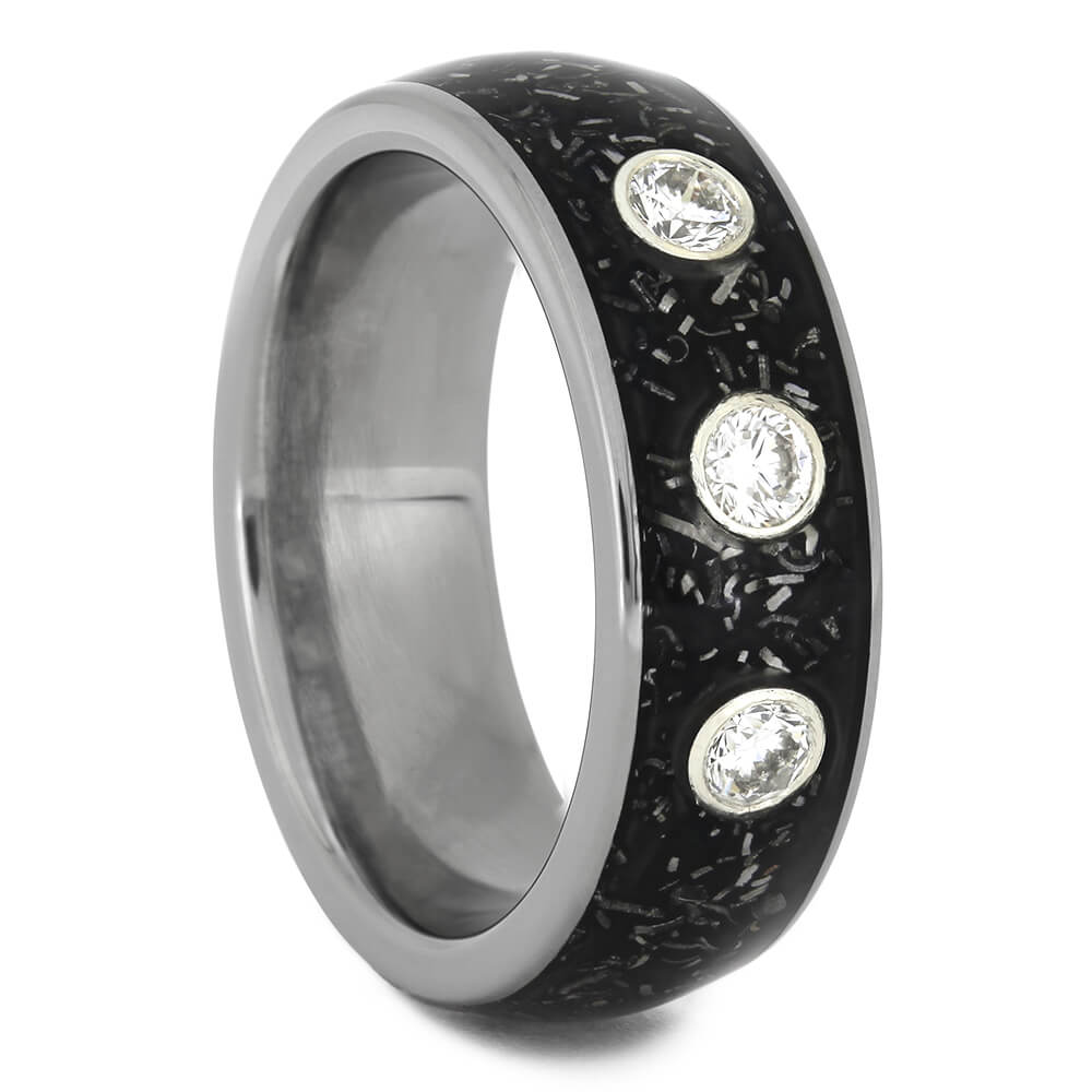 Diamond Wedding Band with Black Stardust™-4600 - Jewelry by Johan