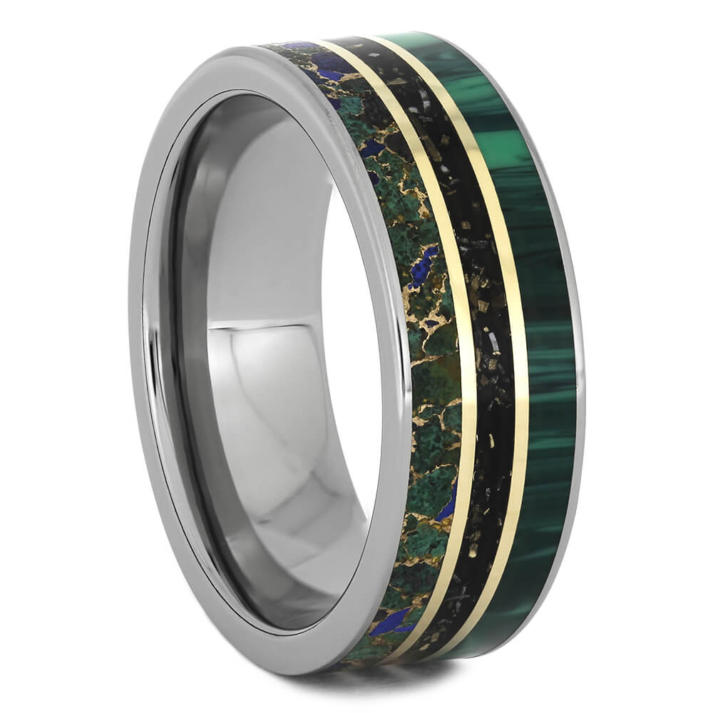 Stardust Wedding Band with Malachite and Desert Mosaic Turquoise-4601 - Jewelry by Johan