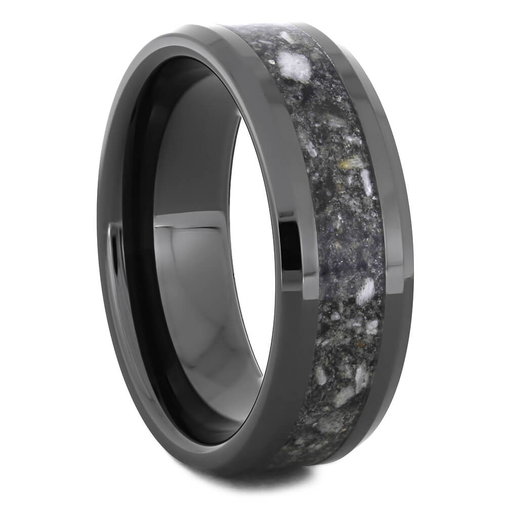 Memorial Ring in Black Ceramic with Beveled Edges-4605 - Jewelry by Johan