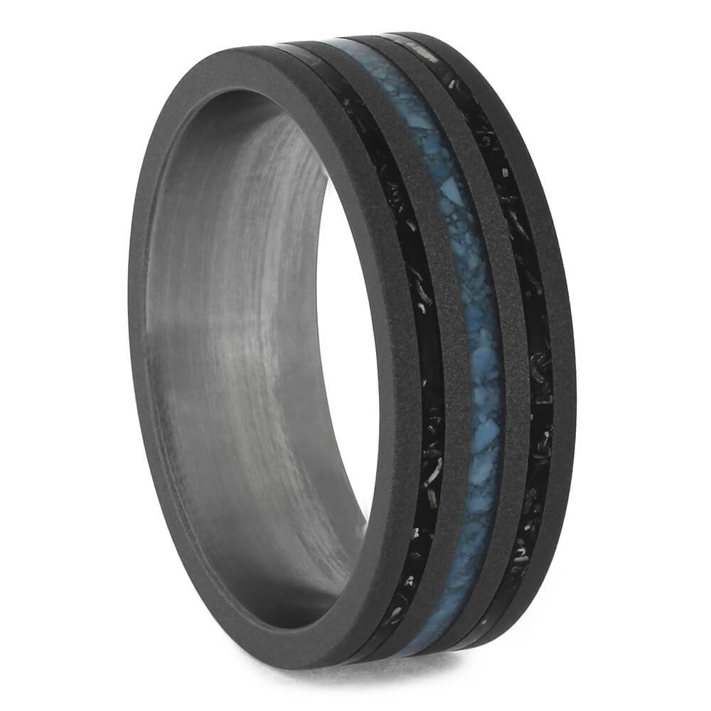 Black Stardust and Turquoise Men's Wedding Band-4607 - Jewelry by Johan