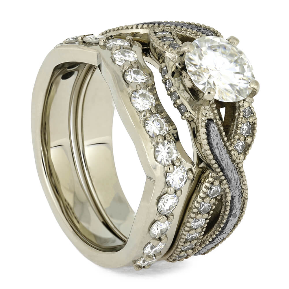 Bridal Set With Meteorite Engagement Ring and Band-4610 - Jewelry by Johan