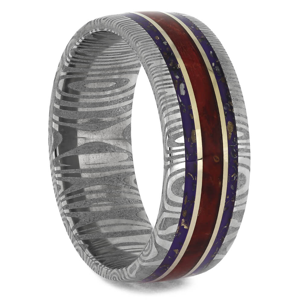 Purple Stardust Wedding Band with Red Wood and Damascus-4611 - Jewelry by Johan