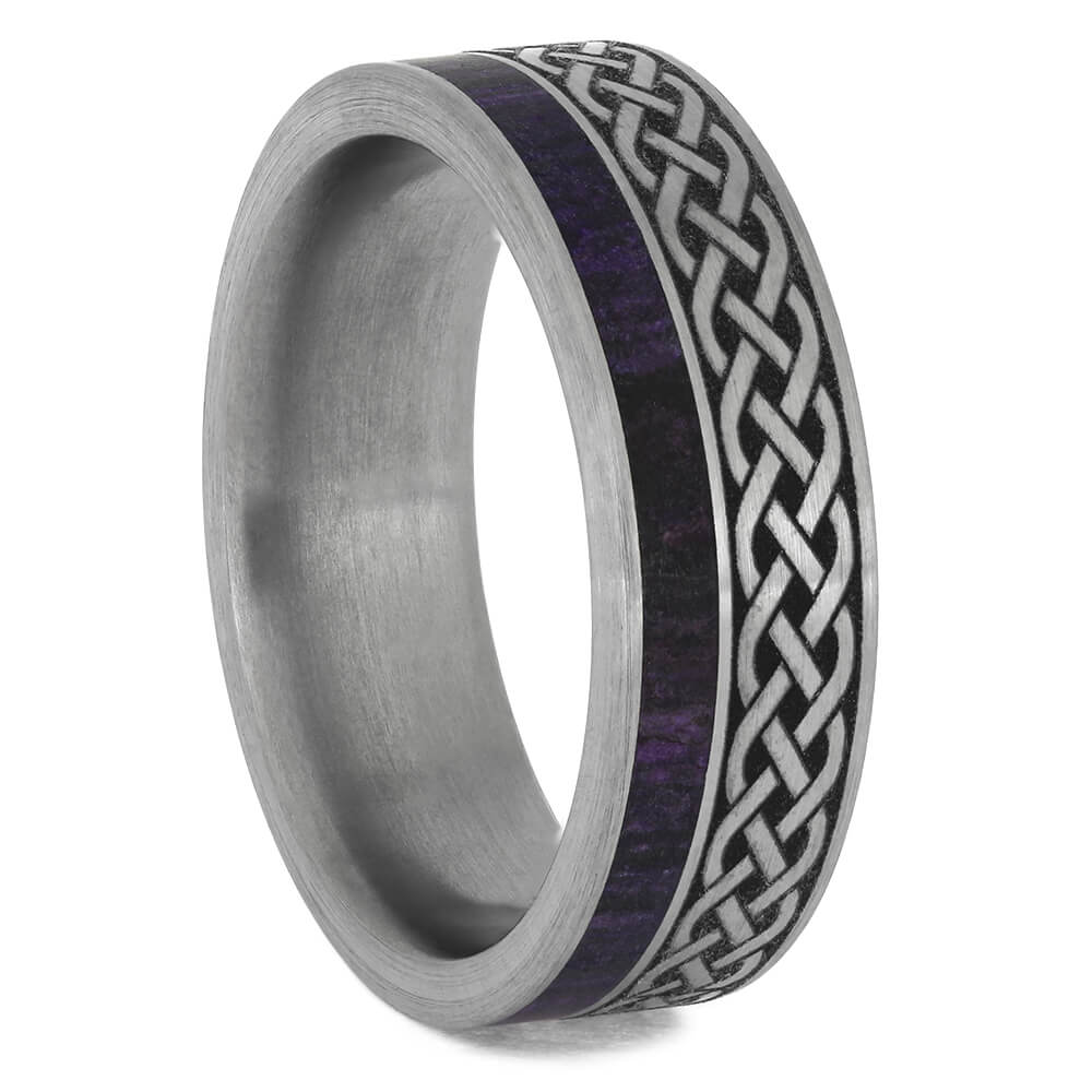 Men's Celtic Wedding Band with Purple Sugilite-4612 - Jewelry by Johan