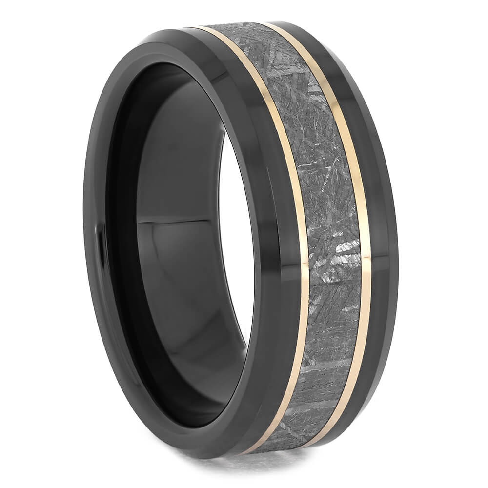 Black Ceramic Meteorite Ring With Rose Gold Pinstripes-4613 - Jewelry by Johan