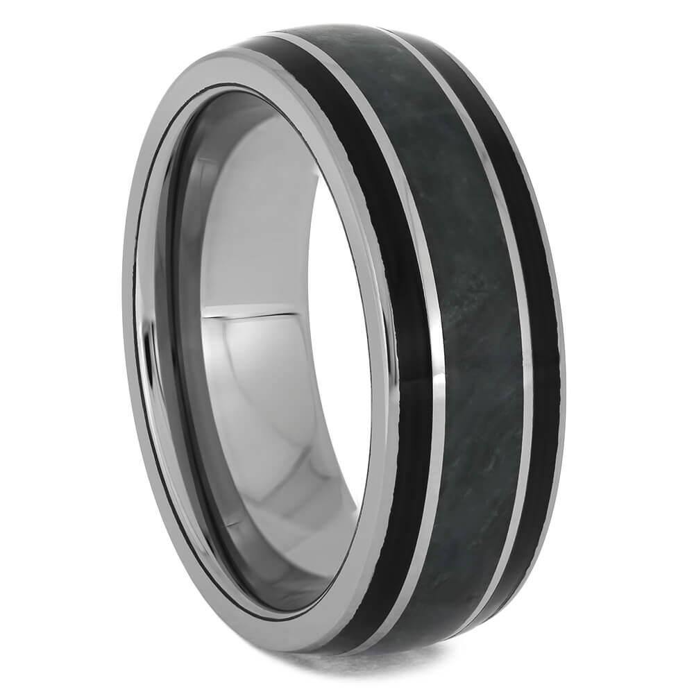Tungsten Ring with Green Jade & Black Wood Stripes-4615 - Jewelry by Johan