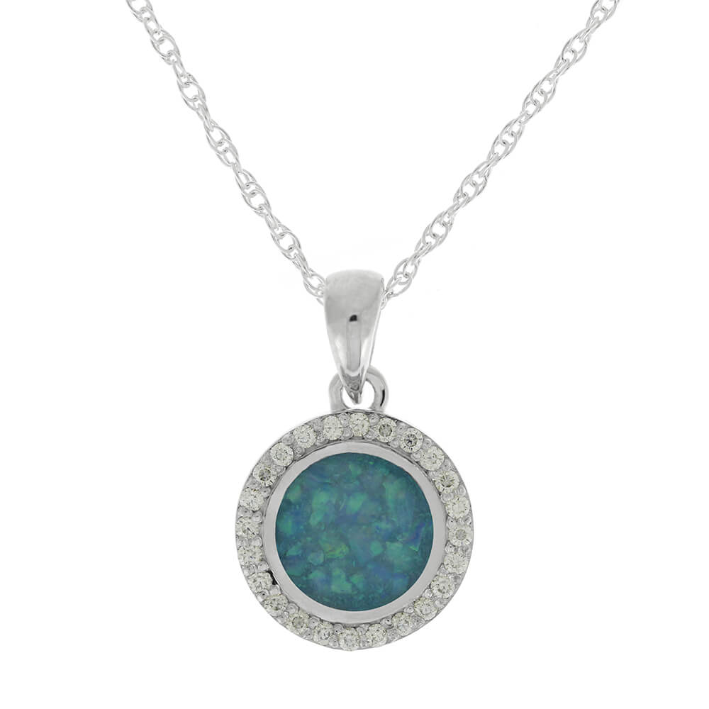 In Stock Moissanite Halo Necklace with Opal Center-RS11479 - Jewelry by Johan