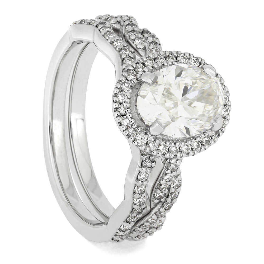 Matching Diamond Halo Bridal Set with Polished Platinum-4619 - Jewelry by Johan