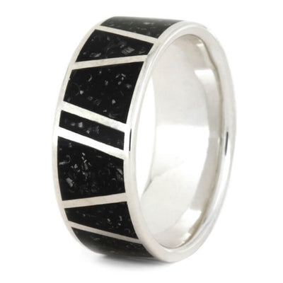 Black Stardust™ Wedding Band For Men In Sterling Silver-3572 - Jewelry by Johan