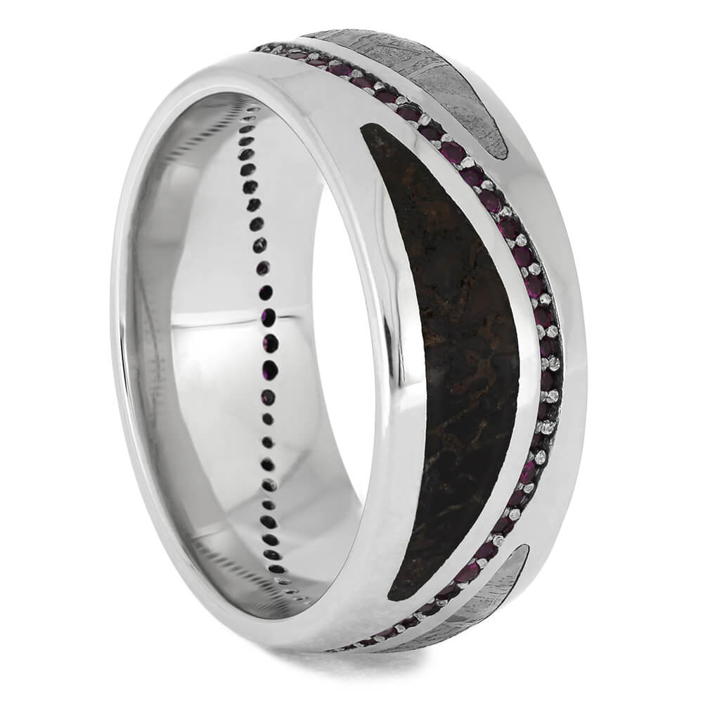 Fossil and Meteorite Wedding Band with Wavy Ruby Eternity Set in Platinum-4625 - Jewelry by Johan